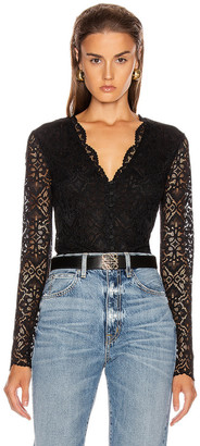Jonathan Simkhai Lace Long Sleeve Bodysuit in Black | FWRD
