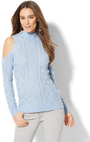 New York & Co. Cable-Knit Cold-Shoulder Sweater