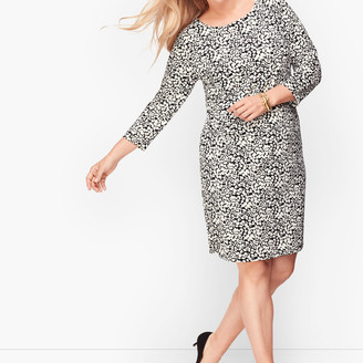 Talbots Knit Jersey Shift Dress - Leaf Dot
