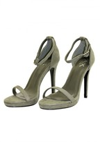 AX Paris Khaki Suede Barely There Heels
