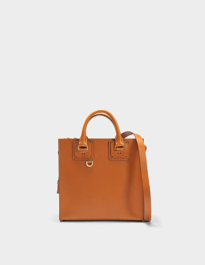 Sophie Hulme Square Albion Tote Bag in Tan Cowhide Leather