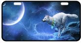 """Wolf License Plate Classic Howling Wolf At full Moon Metal License Plate Frame 11.8"""" X 6.1"""""""