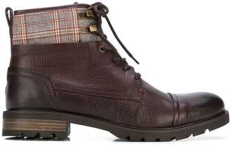 Tommy Hilfiger plaid patch ankle boots