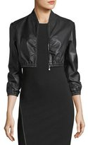 Emporio Armani Zip-Front Stretch-Leather Cropped Jacket