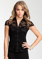 Bebe Lace Button Up Pocket Blouse