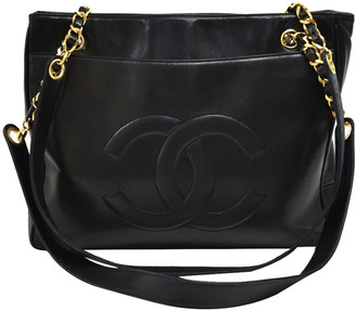Chanel Black Leather Double Pocket Vintage Tote