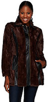 As Is Styled by Joe Zee Faux Fur Coat with Faux Leather Details