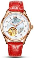 Carnival Women's Automatic Self Winding Analog Luxury Bracelet Watch with Stainless Steel Case and Leather Band (Red)
