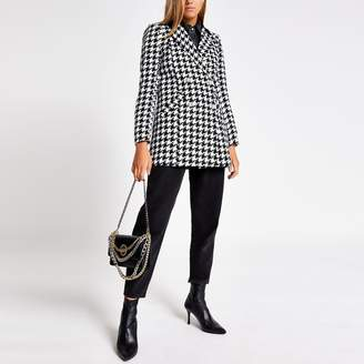 River Island Womens Black dogtooth print double breasted jacket