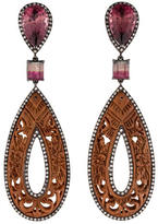18K Tourmaline, Diamond & Carved Wood Drop Earrings