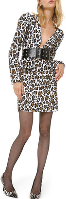 Michael Kors Leopard-Print Plunging-Neck Dress