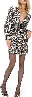 Michael Kors Leopard-Print Plunging-Neck Dress