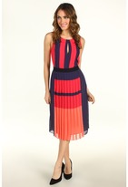 BCBGMAXAZRIA Jeisa Pleated Colorblock Dress (Ruby Red Combo) - Apparel