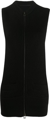 Haider Ackermann Rib-Knit Zipped Long-Line Gilet