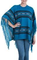Blue 100% Baby Alpaca Knitted Crew Neck Poncho, 'Mountain Sky'