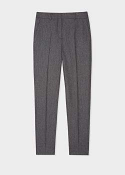 Women's Classic-Fit Grey Marl Flannel Wool Trousers