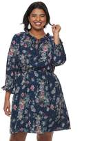 Wrapper Juniors' Plus Size Floral Peasant Dress