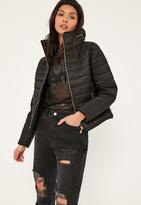 Missguided Black Padded Concealed Hood Coat