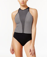 Nike Striped High-Neck One-Piece Swimsuit Women's Swimsuit