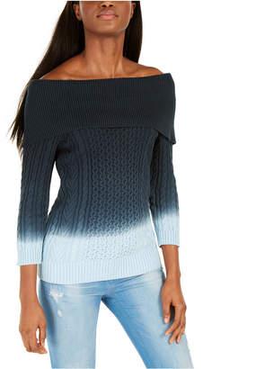 Tommy Hilfiger Off-The-Shoulder Tie-Dye Sweater