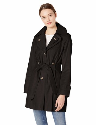 London Fog Women's Short Single-Breasted Trench Coat with Belt