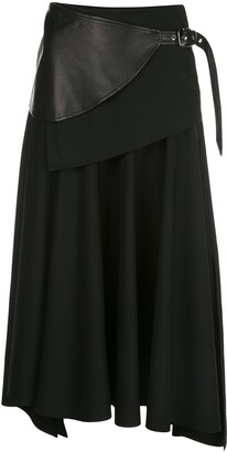 Proenza Schouler Leather Panel Belted Skirt