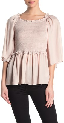 Do & Be Smocked Elbow Sleeve Top