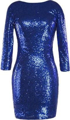 IBTOM CASTLE Womens Ladies Sexy Sequins Shiny Glitter Bodycon Bandage Dress Long Sleeve Crew Neck Purple M
