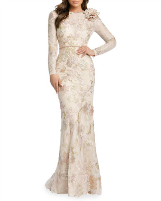 Mac Duggal Long-Sleeve Sequined Lace Gown w/ Flower