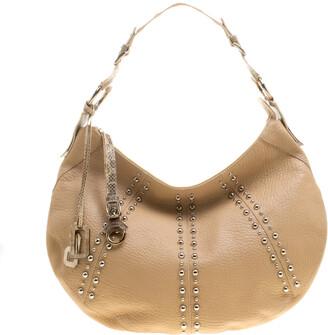 Dolce & Gabbana Beige Leather and Snakeskin Hobo