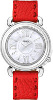 Fendi Selleria Round Watch w/ Leather Strap, Poppy