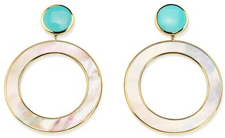 Ippolita 18kt yellow gold Polished Candy Stone Dot and Open Circle turquoise and mother-of-pearl earrings