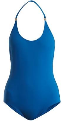 Marios Schwab On The Island By Ammos Halterneck Swimsuit - Womens - Blue