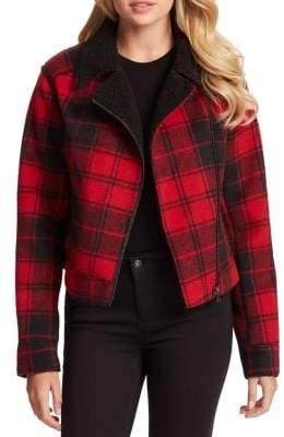 Jessica Simpson Fleetwood Plaid Faux Shearling Moto Jacket