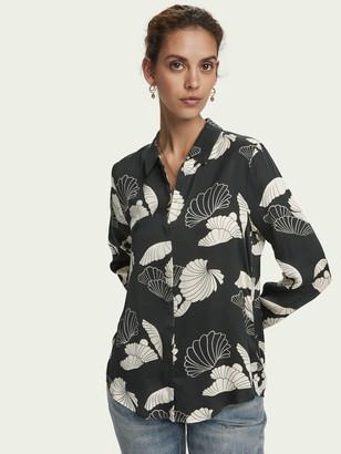 Scotch & Soda Printed long sleeve drapey shirt   Women