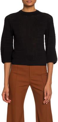 Chloé 3/4-Sleeve Lingerie Knit Ruffled Sweater