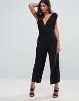 Oh My Love Pleated Grecian Wrap Front Jumpsuit