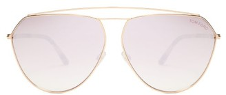 Tom Ford Aviator Metal And Acetate Sunglasses - Womens - Pink Gold