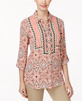 JM Collection Printed Roll-Tab Blouse, Created for Macy's