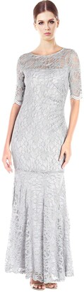 Xscape Evenings Women's Long Side Ruch Long Sleeve Lace Gown