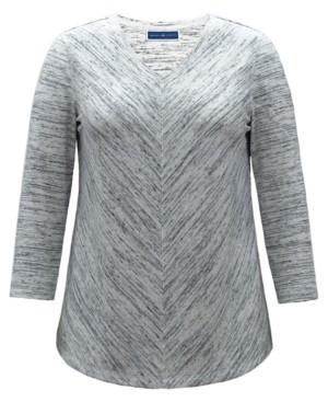 Karen Scott Space-Dyed V-Neck Top, Created for Macy's