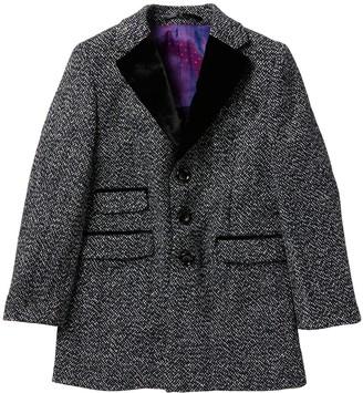 Isaac Mizrahi Tweed Trim Herringbone Coat (Toddler, Little Boys & Big Boys)