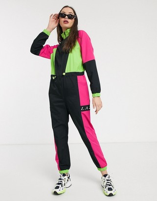 Lazy Oaf track jumpsuit in neon colour block
