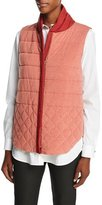Lafayette 148 New York Kaelyn Reversible Quilted Vest, Carnelian
