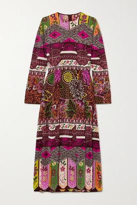 Valentino Pleated Printed Silk Midi Dress - Plum