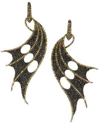Nina Gilin Black Rhodium-Plated, Diamond & Black Spinel Wing Earrings