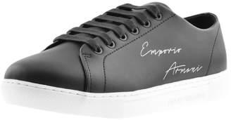 Giorgio Armani Emporio Leather Logo Trainers Black
