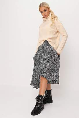 I SAW IT FIRST Black Leopard Print High Low Hem Midi Skirt