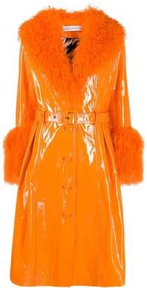 Saks Potts belted fur-trimmed coat