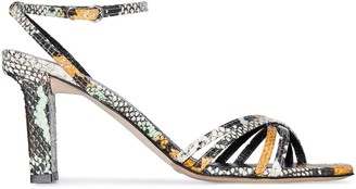 AEYDĒ Annabella 75mm snake-print leather sandals